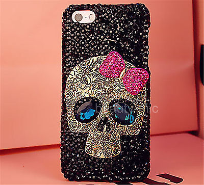 (Gold Metal Skull Bling Diamond Rhinestone Hard Plastic Back Phone Case Cover)