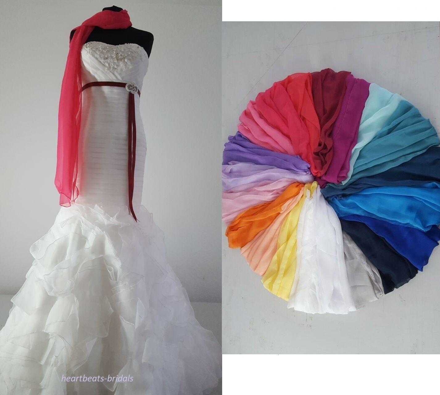 Chiffon Schal Stola Bolero Tuch 20 Farben Brautkleid Abendkleid NEU