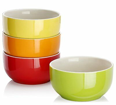 20-Ounce Porcelain Soup/Cereal Bowl Set - 4 Packs, Assorted Colors