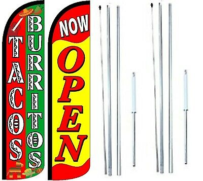 Tacos Burritos Now Open Windless Flag With Complete Hybrid Pole Set - Pack Of 2