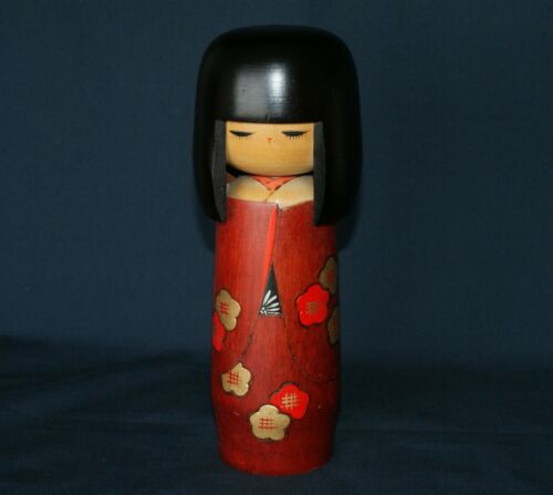 "8.7"" VTG Japanese Apricot Kimono Sosaku Kokeshi Doll Signed Kunio Miyakawa"
