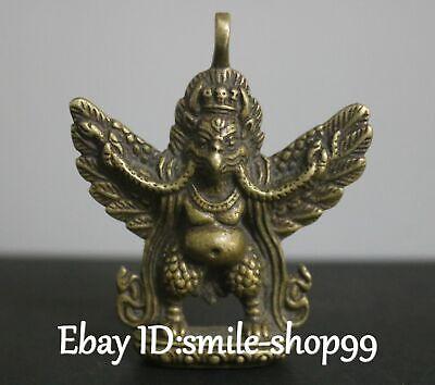 Tibet Bronze Redpoll Winged Garuda Vogeladler Buddha Anhänger Amulett