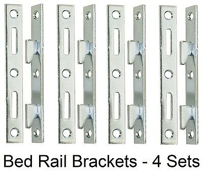 "5"" Wood Bed Rail Furniture Hook Zinc Metal Fasteners - 4 Bracket Sets"