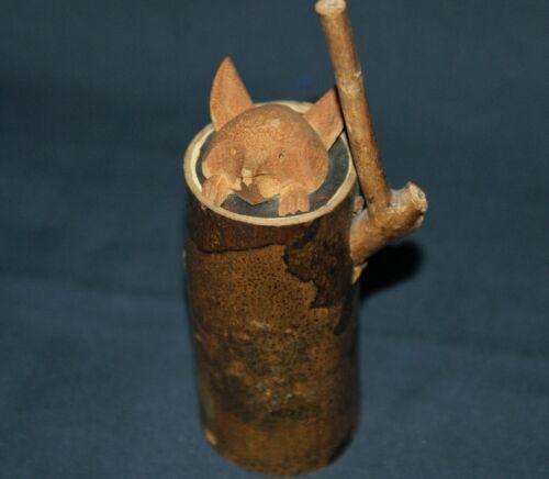 """4.9"""" Japanese Wooden Bell Fox/ Good Luck Charm"""