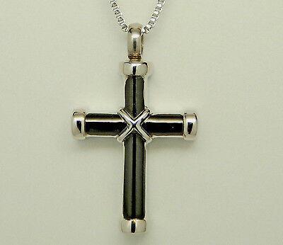 Silver & Black Cross Cremation Urn Necklace Cremation Jewelry Memorial Keepsake