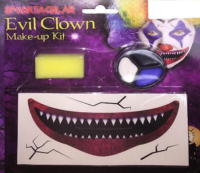 Evil Clown Make Up Kit With Face Transfers Horror Halloween Pennywise IT](It Halloween Makeup)