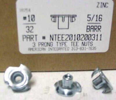10-32 T-nuts 516 Barrel 3 Prong Steel Zinc Plated 50