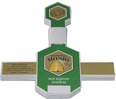 Honig-Etikett, Honigglas, Banderole,Gewährverschlüsse, Imkerbund, DIB, Liebig