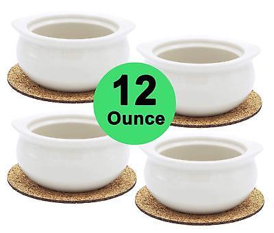 Set of 4 12 Ounce Onion Soup Bowls Classic European Style Portion Crocks