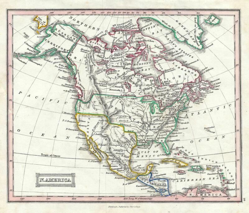 1845 Ewing Map of North America