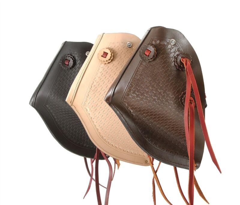 Western Tapadero Stirrups - Reversible - Black, Light or Dark Oil Leather