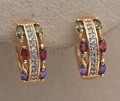 18K Gold Filled Earrings Zircon Amethys Perido Ruby Symmetry Topaz Ear Hoop Lady
