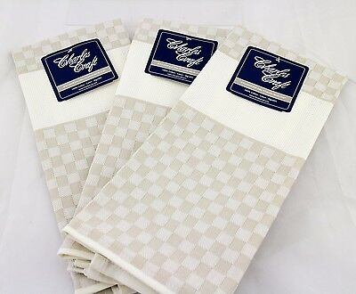 Lot of 3 NWT Cross Stitch Fabric Towels Cottage Check Charles Craft - Putty