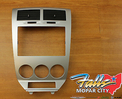 2007-2011 Dodge Caliber SILVER Navigation Radio Instrument Bezel w/ Bracket OEM - Oem Radio Brackets