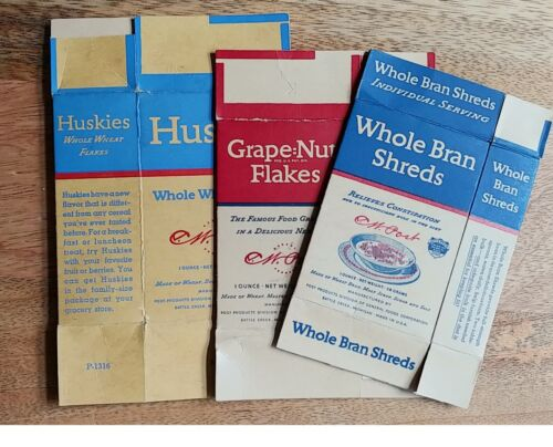 Post Cereal Boxes - individual servings - 3 vintage flats 40s