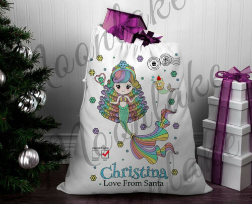 Mermaid%2C+Snowflake+Mermaid.+Santa+Christmas+Sack+%7C+Christmas+Sack+%7C+Personalized
