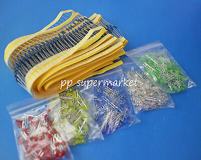 1000pcs Resistor 500pcs 3mm Round Top Led Light Assorted Box Diy Set
