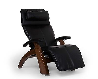 Black Leather PC LIVE PC-610 Human Touch Zero Gravity Perfect Chair Walnut Wood