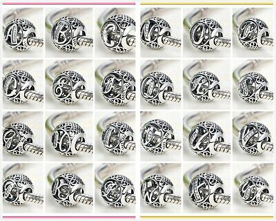 925 Silver Bead Charm 26 Letters Initial Character Alphabet fo Pandora Bracelet - Alphabet Letter Initial Bead