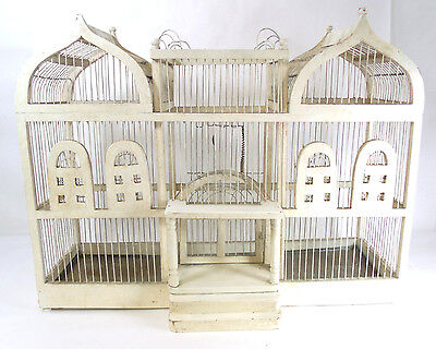Handmade Victorian Birdcage Bird Cage Ivory Wood & Wire Great Table 00201010