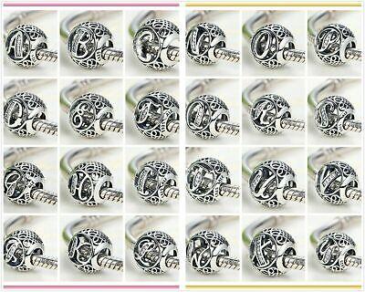 Sale Pandora Charm Bead VINTAGE LETTER 925 Ale Initial Character Alphabet
