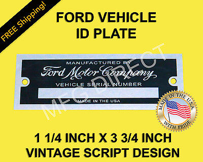 FORD SERIAL NUMBER PLATE MODEL A T DATA TAG 1 1/4