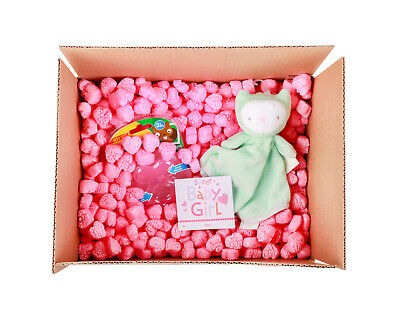 Funpak Packing Peanuts Pink Heart Shape 1.5 Cu Ft Bag Compostable Biodegradable