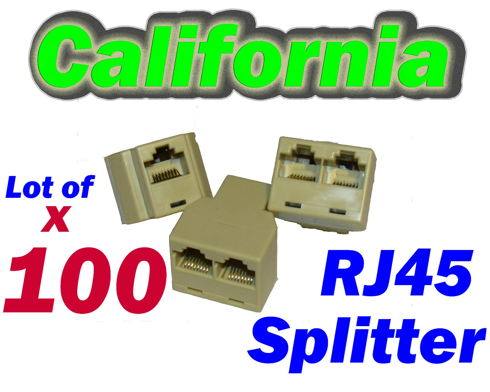 Lot 100 Rj45 Network Splitter Cable Extender Cat5 Plug Coupler Adapter Y 3-way