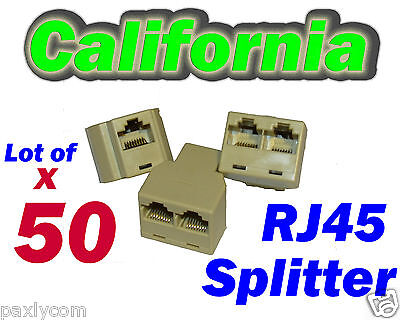 Lot 50 Rj45 Network Splitter Cable Extender Cat5 Plug Coupler Adapter Y 3-way