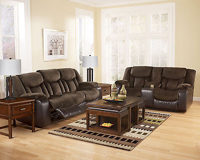 ADAMS - MICROFIBER & FAUX LEATHER RECLINER SOFA COUCH & LOVESEAT SET LIVING ROOM