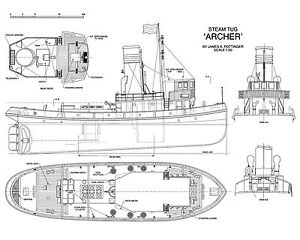 MODEL BOAT DRAWINGS 1:50 SCALE ARCHER STEAM TUG FULL SIZE PRINTED ...