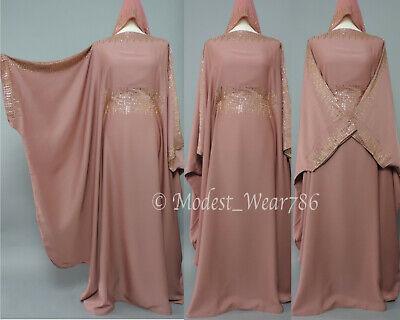 Dubai Abaya Bisht Butterfly Kaftan Jilabiya Jilbab Muslim Dress Mauve Brown