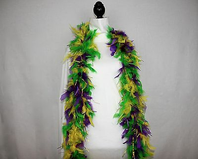 MARDI GRAS w/GOLD TINSEL FEATHER BOA Best Price on eBay 6 FEET 60 GRAMS; Parades](Gold Feather Boas)