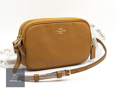Coach Small Crossbody Bag / Camera Bag in Saddle Pebbled Leather Double Zip BNWT