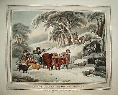 Hirschjagd Jagd Jäger im Winter altkolorierter Kupferstich in Aquatinta 1813