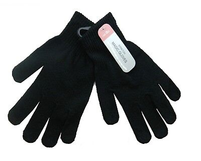2x Pair Magic Stretch Black Gloves Winter Warm Thermal For Mens Womens Children
