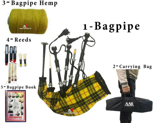 Bagpipe Sheesham wood Black McaLeod Silver Mounts Free Bagpipe Carrying Brand
