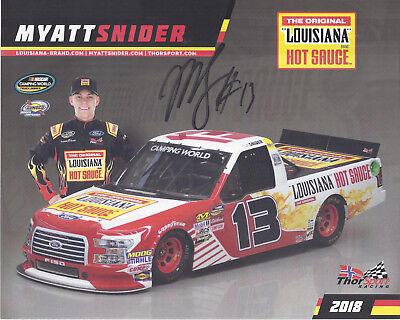 Signed 2018 Myatt Snider  Louisana Hot Sauce Thorsport  13 Nascar Truck Postcard