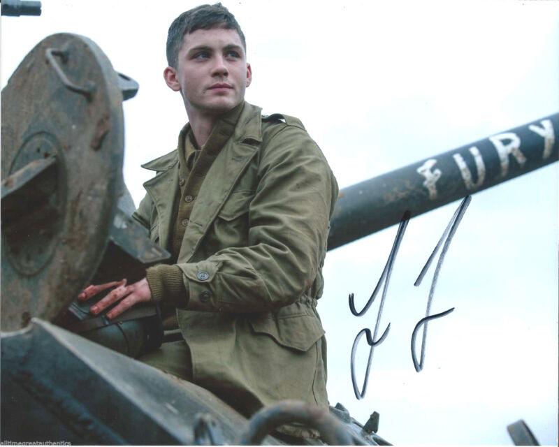 ACTOR LOGAN LERMAN SIGNED 'FURY' 8X10 PHOTO W/COA BRAD PITT WORLD WAR II