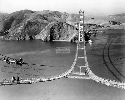 GOLDEN GATE BRIDGE CONSTRUCTION BEGINS, CIRCA 1935 - 8X10 PHOTO (BB-235)
