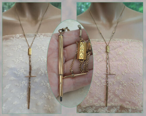 ANTIQUE Gold Filled Mechanical Pencil Necklace - Gold Filled Watch Chain Swivel
