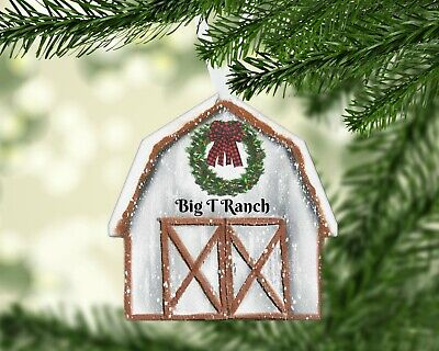 White Barn Christmas Ornament, Tree Decor, Personalized, Ranch, Farm, Name/Year ()