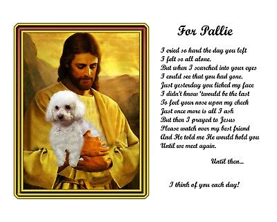 Bichon Frise Dog Memorial w/Jesus/Poem Personalized w/Dog's Name- Pet-Loss Gift2