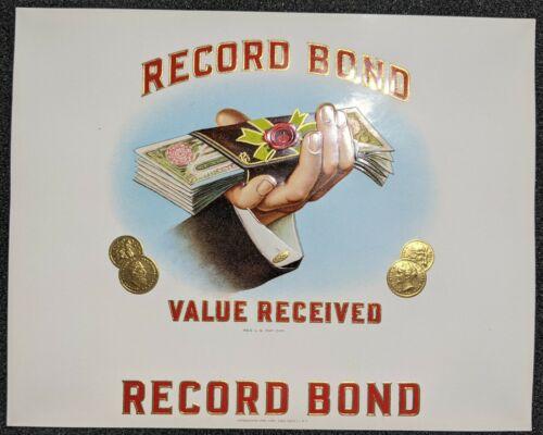 Vintage Record Bond Value Received Cigar Label Tobacco
