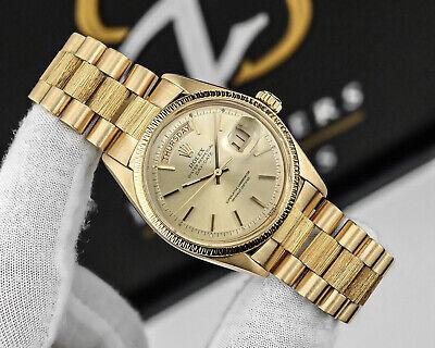 Rolex Day-Date 18k Solid Gold President Ref. 1807 Vintage 1974 Rare Bark Effect