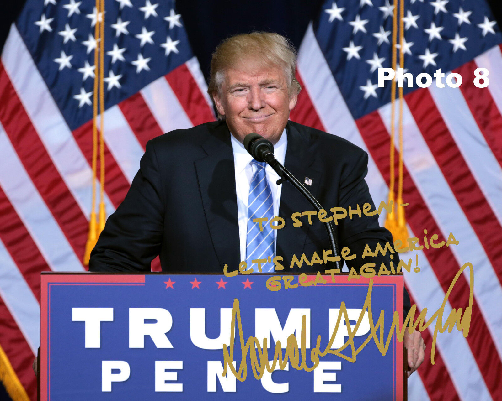 Customized President Donald Trump Gold Autographed 8x10 Photo - FREE SHIPPING!