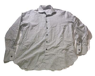Finamore 1925 Napoli White Blue Stripes Mens Shirt Size 15 1/2 39