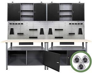 Ondis24 Werkstatteinrichtung 240 cm Werkbank Werkzeugschrank Lochwand Metall LED