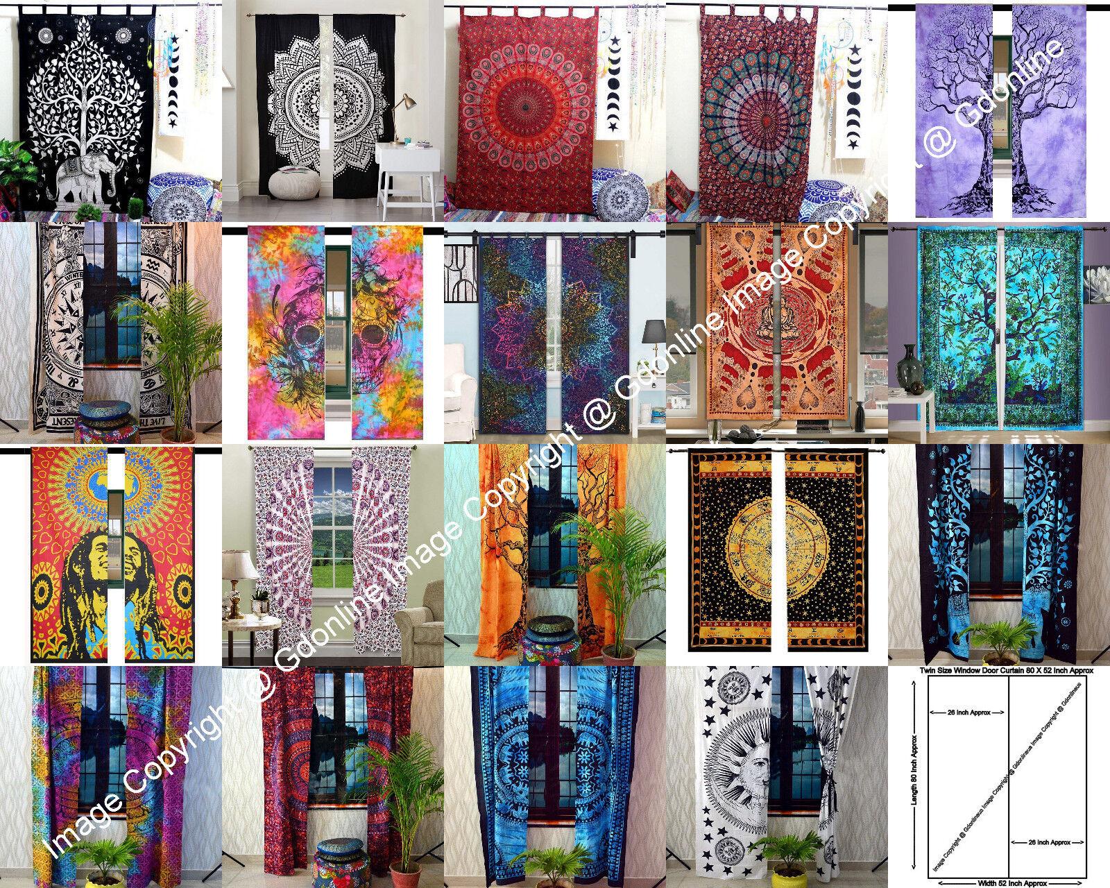 Indian Mandala Hippie Wall Drapes Bohemian Room Door Window