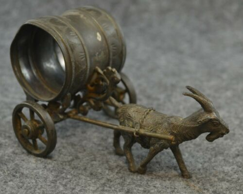 Napkin Ring Goat Pulling Cart Figural Antique Silverplate Rolling Wheels Damage